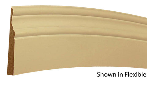 "Profile view of a flexible MDF Base molding, product number FSBA420 5/8"" x 4-1/4"" - $16.69/ft. sold by American Wood Moldings"
