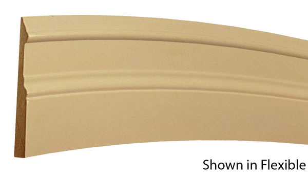 "Profile View of Flexible Base Molding, product number BA-500-020-1-FL - 5/8"" x 5"" Smooth Urethane Flexible Base - $17.32/ft sold by American Wood Moldings"
