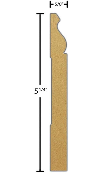 "Side view of a flexible MDF Base molding, product number FSBA520 5/8"" x 5-1/4"" - $18.02/ft. sold by American Wood Moldings"
