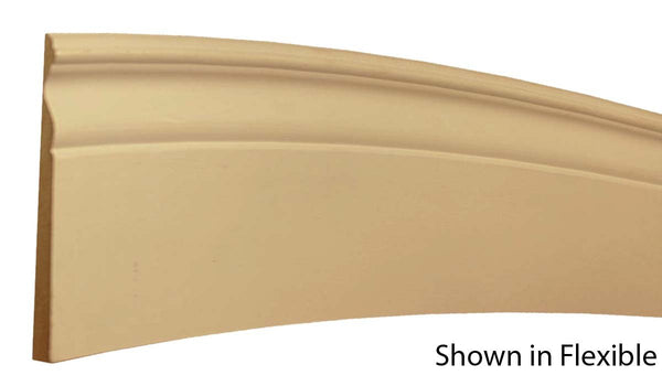 "Profile View of Flexible Base Molding, product number BA-518-019-1-FL - 19/32"" x 5-9/16"" Smooth Urethane Flexible Base - $18.42/ft sold by American Wood Moldings"