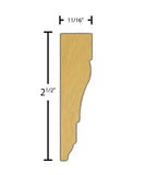 "Side view of a flexible MDF Casing molding, product number FRCA218 11/16"" x 2-1/2"" - $7.37/ft. sold by American Wood Moldings"