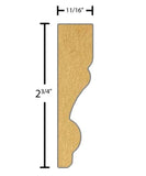 "Side view of a flexible MDF Casing molding, product number FRCA225 11/16"" x 2-3/4"" - $10.99/ft. sold by American Wood Moldings"