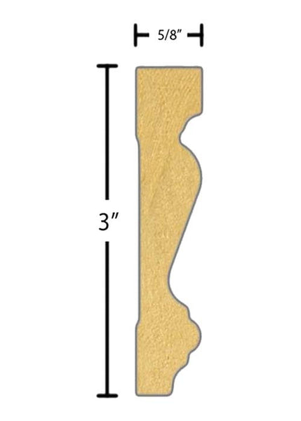 "Side view of a flexible MDF Casing molding, product number FRCA305 5/8"" x 3"" - $8.07/ft. sold by American Wood Moldings"