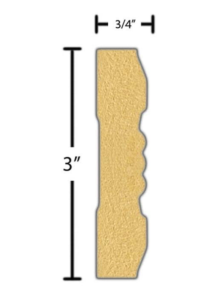 "Side view of a flexible MDF Casing molding, product number FRCA320 3/4"" x 3"" - $13.01/ft. sold by American Wood Moldings"