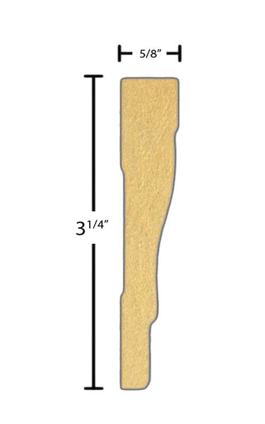 "Side view of a flexible MDF Casing molding, product number FRCA323 5/8"" x 3-1/4"" - $10.30/ft. sold by American Wood Moldings"