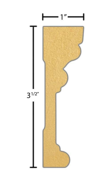 "Side view of a flexible MDF Casing molding, product number FRCA366 1"" x 3-1/2"" - $12.53/ft. sold by American Wood Moldings"