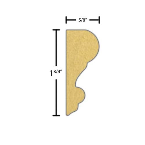 "Side view of a flexible MDF Panel molding, product number FSCH110 5/8"" x 1-3/4"" - $5.27/ft. sold by American Wood Moldings"