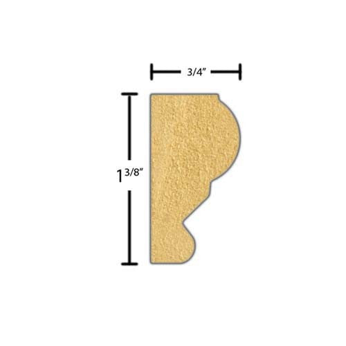 "Side View of Flexible Panel Molding, product number PA-112-024-3-FL - 3/4"" x 1-3/8"" Smooth Urethane Flexible Panel Molding - $5.04/ft sold by American Wood Moldings"