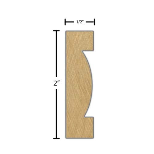 "Side View of Decorative Carved Molding, product number DC-200-016-1-MA - 1/2"" x 2"" Maple Decorative Carved Molding - $14.88/ft sold by American Wood Moldings"