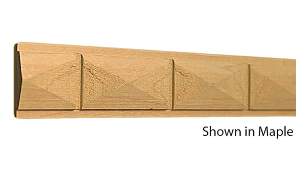 "Profile view of a decorative maple carved molding, product number MADC230 3/8""x1-1/4"" Maple $6.20/ft. sold by American Wood Moldings"