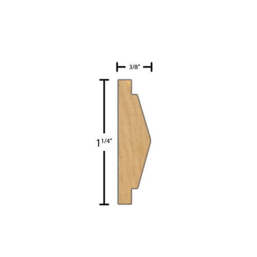 "Side view of a decorative maple carved molding, product number MADC230 3/8""x1-1/4"" Maple $6.20/ft. sold by American Wood Moldings"