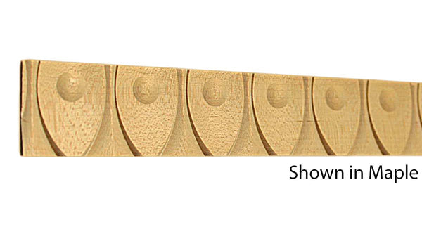 "Profile view of a decorative maple carved molding, product number MADC235 1/4""x1-1/4"" Maple $6.20/ft. sold by American Wood Moldings"