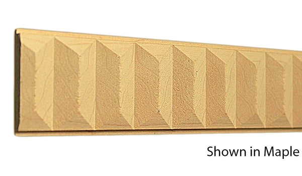 "Profile view of a decorative maple carved molding, product number MADC345 3/8""x1-13/16"" Maple $8.96/ft. sold by American Wood Moldings"