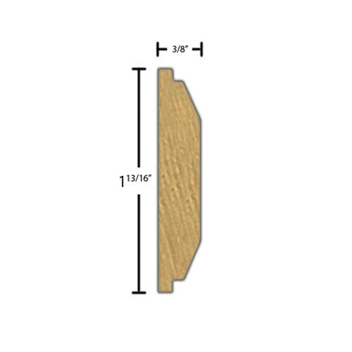 "Side view of a decorative maple carved molding, product number MADC345 3/8""x1-13/16"" Maple $8.96/ft. sold by American Wood Moldings"