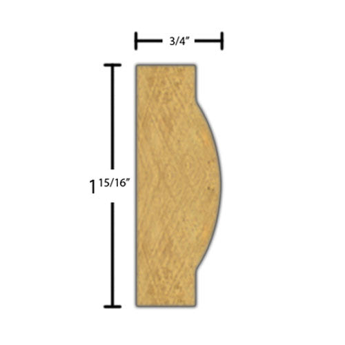 "Side view of a decorative maple carved molding, product number MADC410 3/4""x1-15/16"" Maple $14.88/ft. sold by American Wood Moldings"