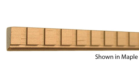 "Profile view of a decorative maple dentil molding, product number MADD115 1/2""x7/8"" Maple $2.52/ft. sold by American Wood Moldings"