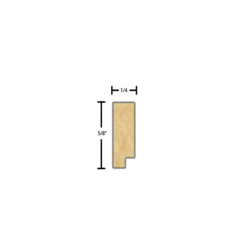"Side view of a decorative maple dentil molding, product number MADD140 1/4""x5/8"" Maple $1.80/ft. sold by American Wood Moldings"