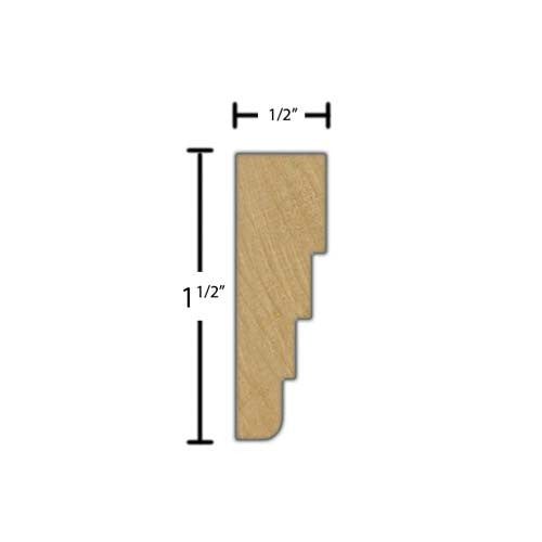 "Side view of a decorative maple dentil molding, product number MADD160 1/2""x1-1/2"" Maple $4.32/ft. sold by American Wood Moldings"