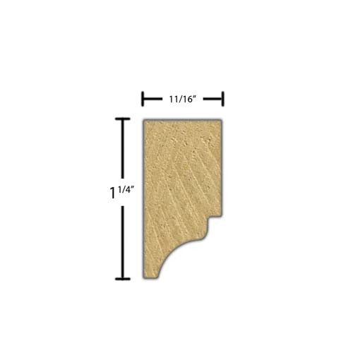 "Side view of a decorative maple dentil molding, product number MADD165 11/16""x1-1/4"" Maple $3.60/ft. sold by American Wood Moldings"