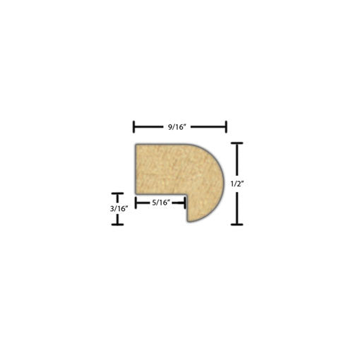 "Side View of Decorative Embossed Molding, product number DE-016-018-1-MA - 9/16"" x 1/2"" Maple Decorative Embossed Molding - $1.80/ft sold by American Wood Moldings"