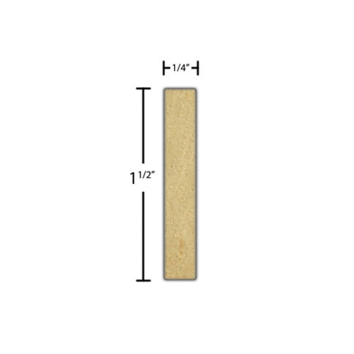 "Side view of a decorative maple embossed molding, product number MADE125 1/4""x1-1/2"" Maple $4.32/ft. sold by American Wood Moldings"