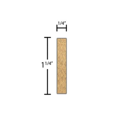"Side View of Decorative Embossed Molding, product number DE-108-008-3-MA - 1/4"" x 1-1/4"" Maple Decorative Embossed Molding - $3.60/ft sold by American Wood Moldings"