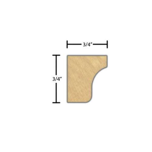 "Side view of a decorative maple embossed molding, product number MADE220 3/4""x3/4"" Maple $2.16/ft. sold by American Wood Moldings"