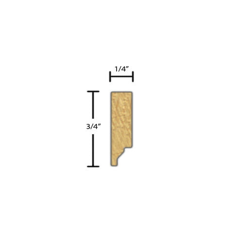 "Side View of Decorative Embossed Molding, product number DE-024-008-5-MA - 1/4"" x 3/4"" Maple Decorative Embossed Molding - $2.16/ft sold by American Wood Moldings"