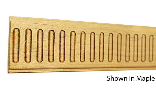 "Profile view of a decorative maple embossed molding, product number MADE350 1/4""x2-1/4"" Maple $6.48/ft. sold by American Wood Moldings"