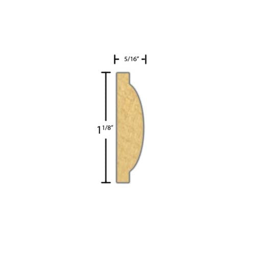 "Side View of Decorative Embossed Molding, product number DE-104-010-1-MA - 5/16"" x 1-1/8"" Maple Decorative Embossed Molding - $3.60/ft sold by American Wood Moldings"