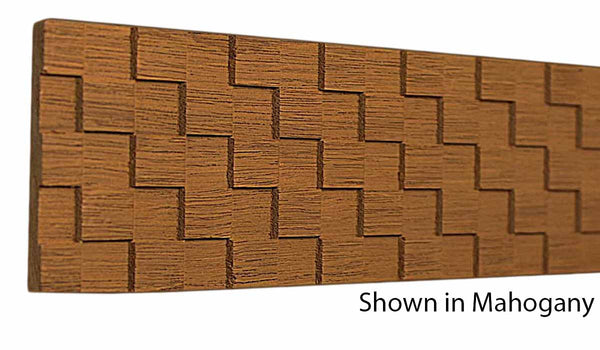 "Profile view of a decorative mahagony carved molding, product number MHDC105 1/4""x2-1/2"" Mahogany $12.36/ft. sold by American Wood Moldings"