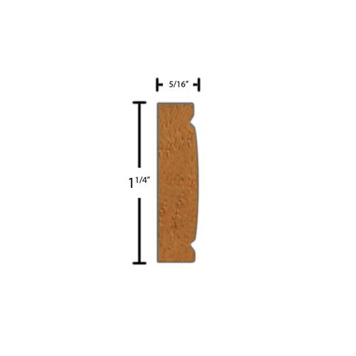"Side View of Decorative Carved Molding, product number DC-108-010-3-HMH - 5/16"" x 1-1/4"" Honduras Mahogany Decorative Carved Molding - $6.20/ft sold by American Wood Moldings"