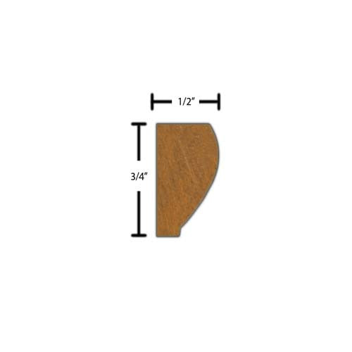 "Side view of a decorative mahagony carved molding, product number MHDC170 1/2""x3/4"" Mahogany $3.72/ft. sold by American Wood Moldings"