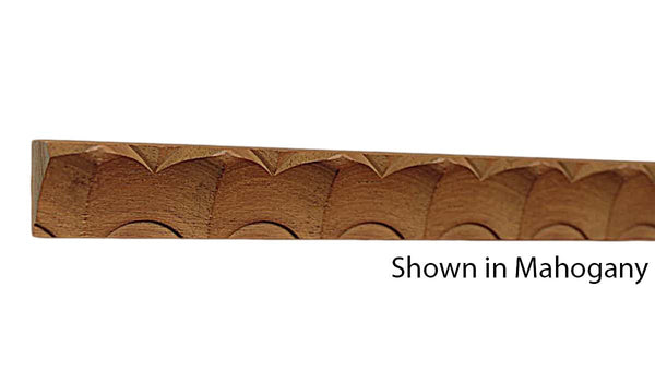 "Profile View of Decorative Carved Molding, product number DC-028-016-3-HMH - 1/2"" x 7/8"" Honduras Mahogany Decorative Carved Molding - $4.32/ft sold by American Wood Moldings"