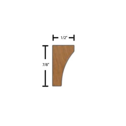 "Side View of Decorative Carved Molding, product number DC-028-016-3-HMH - 1/2"" x 7/8"" Honduras Mahogany Decorative Carved Molding - $4.32/ft sold by American Wood Moldings"