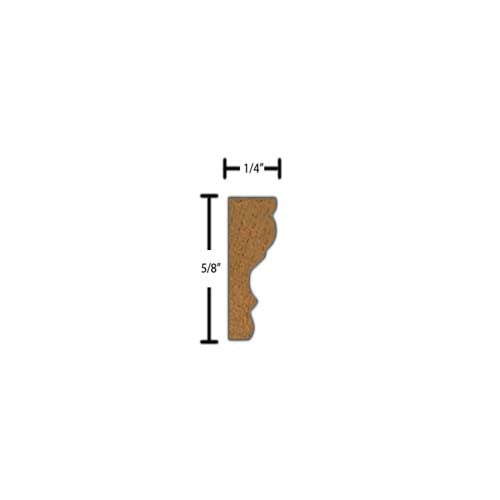 "Side View of Decorative Carved Molding, product number DC-020-008-4-HMH - 1/4"" x 5/8"" Honduras Mahogany Decorative Carved Molding - $3.08/ft sold by American Wood Moldings"