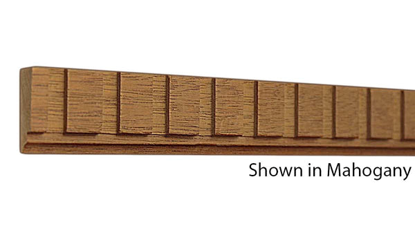 "Profile view of a decorative mahagony dentil molding, product number MHDD105 3/8""x1-1/16"" Mahogany $3.08/ft. sold by American Wood Moldings"