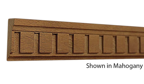 "Profile view of a decorative mahagony dentil molding, product number MHDD110 1/2""x1-1/2"" Mahogany $4.32/ft. sold by American Wood Moldings"
