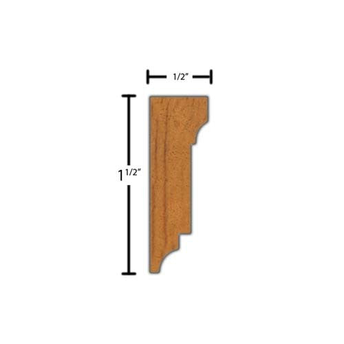 "Side view of a decorative mahagony dentil molding, product number MHDD110 1/2""x1-1/2"" Mahogany $4.32/ft. sold by American Wood Moldings"