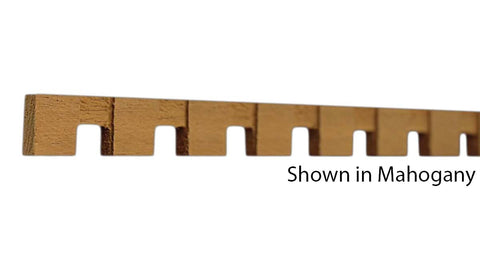 "Profile View of Decorative Dentil Molding, product number DD-020-008-5-HMH - 1/4"" x 5/8"" Honduras Mahogany Decorative Dentil Molding - $1.80/ft sold by American Wood Moldings"