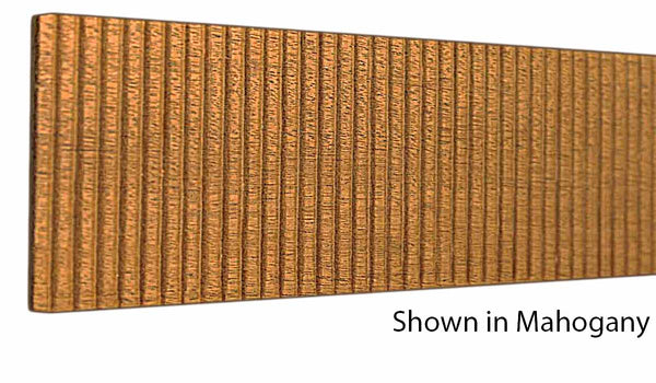 "Profile view of a decorative mahagony embossed molding, product number MHDE145 3/16""x3"" Mahogany $8.68/ft. sold by American Wood Moldings"