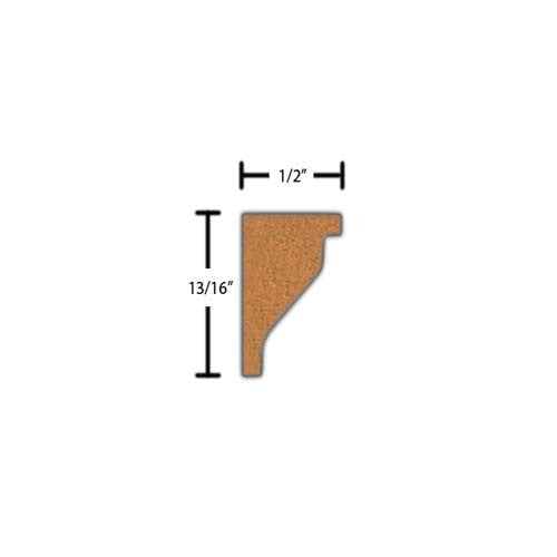 "Side View of Decorative Embossed Molding, product number DE-026-016-2-HMH - 1/2"" x 13/16"" Honduras Mahogany Decorative Embossed Molding - $2.36/ft sold by American Wood Moldings"