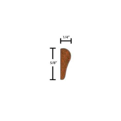 "Side view of a decorative mahagony embossed molding, product number MHDE255 1/4""x5/8"" Mahogany $1.80/ft. sold by American Wood Moldings"