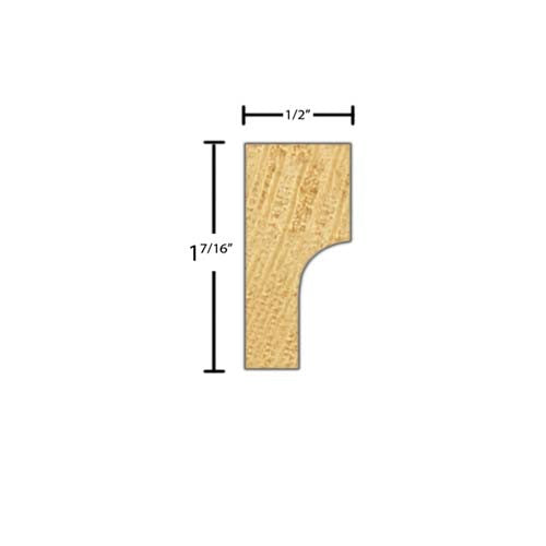 "Side View of Decorative Carved Molding, product number DC-114-016-1-CP - 1/2"" x 1-7/16"" Clear Pine Decorative Carved Molding - $4.56/ft sold by American Wood Moldings"