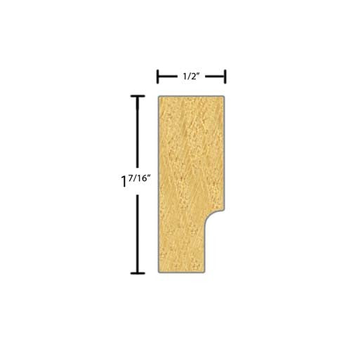 "Side view of a decorative pine carved molding, product number PIDC180 1/2""x1-7/16"" Pine $4.56/ft. sold by American Wood Moldings"