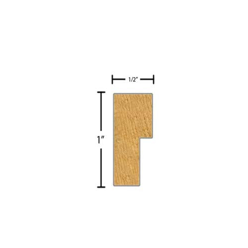 "Side View of Decorative Carved Molding, product number DC-100-016-3-CP - 1/2"" x 1"" Clear Pine Decorative Carved Molding - $3.16/ft sold by American Wood Moldings"