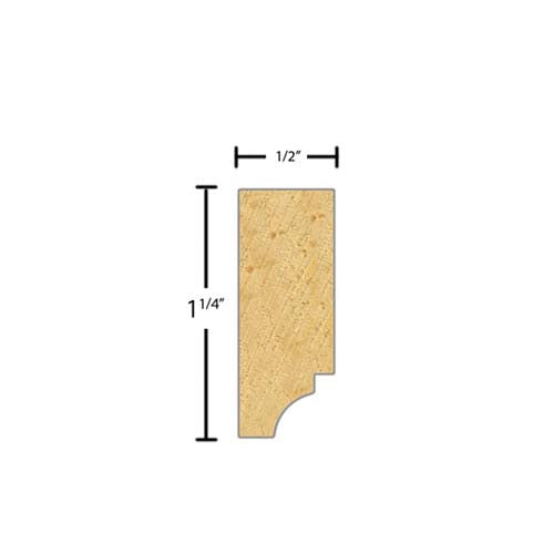 "Side View of Decorative Dentil Molding, product number DD-108-016-1-CP - 1/2"" x 1-1/4"" Clear Pine Decorative Dentil Molding - $2.32/ft sold by American Wood Moldings"