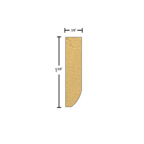"Side View of Decorative Embossed Molding, product number DE-112-012-1-CP - 3/8"" x 1-3/8"" Clear Pine Decorative Embossed Molding - $2.56/ft sold by American Wood Moldings"