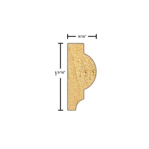 "Side view of a decorative pine embossed molding, product number PIDE140 9/16""x1-3/16"" Pine $2.20/ft. sold by American Wood Moldings"