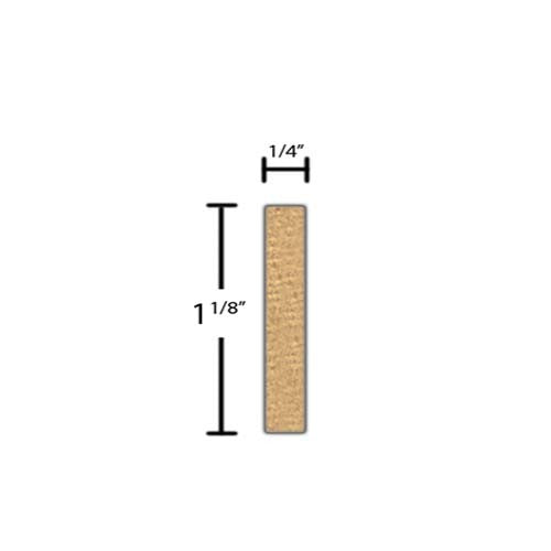 "Side view of a decorative pine embossed molding, product number PIDE150 1/4""x1-1/8"" Pine $2.08/ft. sold by American Wood Moldings"
